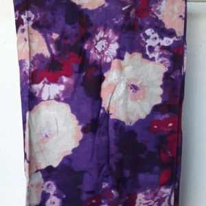 100% rayon purple and pink flowered scarf